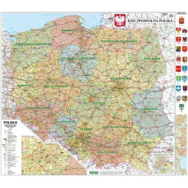 Mapa ścienna Polski administracyjno-samochodowa 1:500 tys