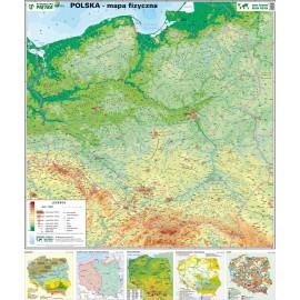 Mapa ścienna Polski fizyczna 1:750 tys
