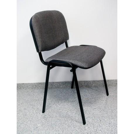 Krzesło konferencyjne ISO materiałowe szaro-czarne splot